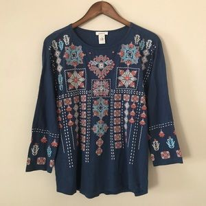 Sundance Blue Embroidered Blouse Long Sleeves M